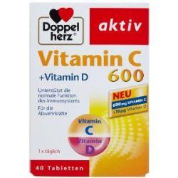 Doppelherz Vitamin C 600 + Vitamin D, 40 Tabletten, 2er Pack (2 x 60 g)