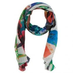 DESIGUAL 41W5725 Panu Carry Desigual, Scarf Damen Long Schal, blanco weiss mehrfarbig bunt