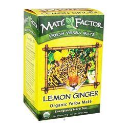 Mate Factor - Organic Yerba Mate Energizing Herb Tea Lemon Ginger - 20 Tea Bags