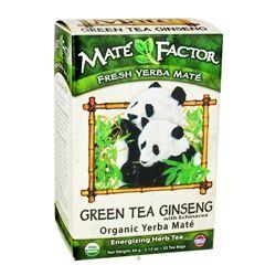 Mate Factor - Organic Yerba Mate Energizing Herb Tea Green Tea Ginseng with Echinacea - 20 Tea Bags