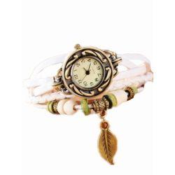 KaiKai Watch:Mode Damen Watch Blatt Leder Armband Armreif Uhr Vintage Weiß Uhren
