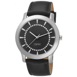 Esprit Damen-Armbanduhr Carmel Black Analog Quarz Leder ES104502001