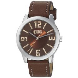 Edc Damen-Armbanduhr Slim Sunrise - Tobacco Brown Analog Quarz Kunstleder EE100872001