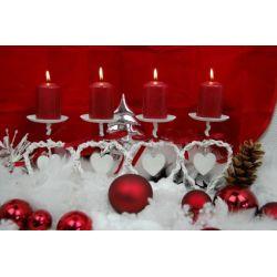 Adventskranz Weihnachtskranz Herz metall-bast, länglich, weiß-rot