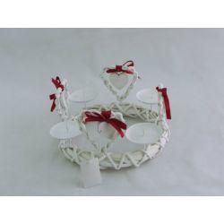 Adventskranz Weihnachtskranz Herz metall-bast, ca. 27 cm, rund, weiß-rot