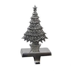 Insideretail 800461SIL-SET2 Christmas Stocking Hanger 2-er Set Traditionelle Weihnachtsbaum, silber