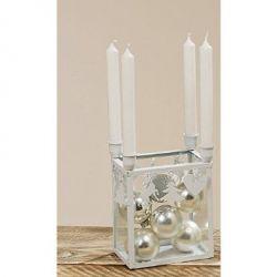 Kerzenhalter 4-fach weiß auf Glasbox Advent 20cm