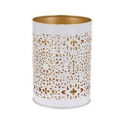 Wunderschönes Windlicht Teelichthalter Metall weiss/gold 14cm