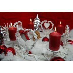 Adventskranz Weihnachtskranz Herz Metall Bast ca. 27 cm, rund, weiß-rot