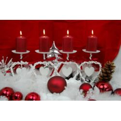 Adventskranz Weihnachtskranz Herz Metall Bast länglich weiß-rot