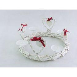 Adventskranz Weihnachtskranz Herz metall-bast, ca. 37 cm, rund, weiß-rot