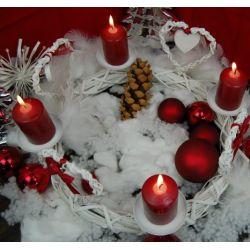 Adventskranz Weihnachtskranz Herz Metall Bast ca. 37 cm rund weiß-rot