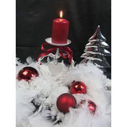 Weihnachten Advent Kerzenständer Kerzenhalter Herz metall-bast 19cm weiß-rot