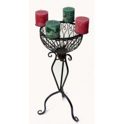 Kerzenständer Eisen braun, Kerzenhalter, abnehmbarer Kerzenring H 68 cm, Ø 32 cm