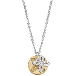 Esprit Damen Halskette 925 Sterling Silber rhodiniert Kristall Zirkonia brilliance flora gold 42 cm weiß ESNL92340B420