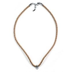 Esprit Damen-Charmskette Leather Chain Charms Cognac Brown 925 Sterling Silber 75 cm ESNL92070F750