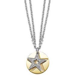 Esprit Damen Halskette Edelstahl rhodiniert Kristall Glaskristall Great Star Gold 80 cm weiß ESNL11844B800