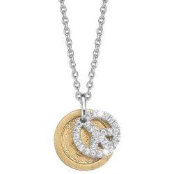 Esprit Damen Halskette 925 Sterling Silber rhodiniert Kristall Zirkonia brilliance peace gold 42 cm weiß ESNL92439B420