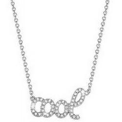 Esprit Damen Halskette 925 Sterling Silber rhodiniert Kristall Zirkonia brilliance cool 40 cm weiß ESNL92423A400