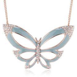 Pilgrim Jewelry Damen-Halskette mit Anhänger aus der Serie Papillon roségold beschichtet mint 40.0 cm 201314401