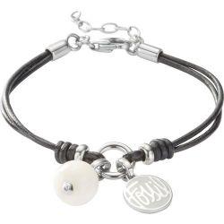 Fossil Damen-Charms Armband Bead Logo Leder Schwarz 16-19,5 Cm JF85974040