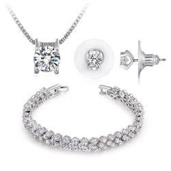 Ninabox® Hochzeit Damen Schmuckset(Kette, Armband, Ohrringe)SWAROVSKI ELEMENTS Kristall Anhänger weiß vergoldet Legierung
