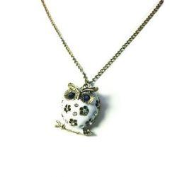 Retro Halskette mit Eule -Anhänger in Weiß (3093) - lange Retro Halskette Kette im Retro-Stil mit kleinem, rundem und niedlichem Deco Eule -Anhänger, sieht wirklich Süß aus