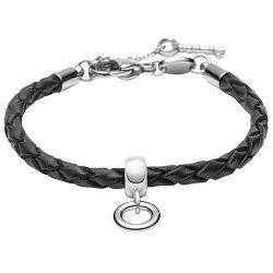 FOSSIL JF85493040 Charms Armband Leder schwarz 17,5 cm + 4 cm Verlängerung