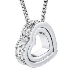 """MARENJA Kristall-Damen Kette mit Herz Anhänger und Gravur """"Ich liebe dich"""" Kristall Weißold Vergoldet Halskette 40+5cm"""