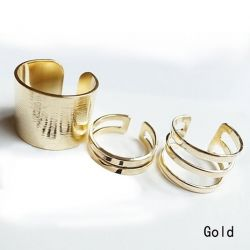 Richmondcup - Fashion Frauen 3pcs Shiny Punk Polish Gold Silber Stack Plain Band Midi Mid Finger Knuckle Ringe Set Rock 2 Farbes