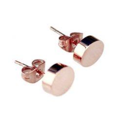 findout 14K Roségold vergoldet Runde Bohne Ohrringe Titan Stahl Größe (F1395) ;. 5 mm x 5 mm