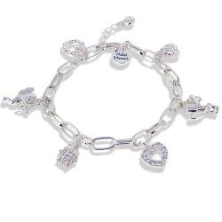 Bettelarmband mit SWAROVSKI ELEMENTS - Farbe Silber Crystal - Etui