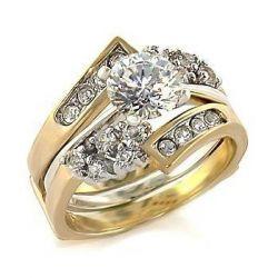 Isady - Sarah - Damen-Ring - 585er 14K Gold platiert - Duo solitaire + Alliances - Zirkonium