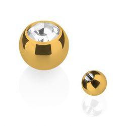 Taffstyle® Piercing Ersatz Schraubkugel Edelstahl Gold mit Kristall