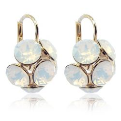Ohrringe mit SWAROVSKI ELEMENTS - Farbe Gold White Opal - Made in Germany
