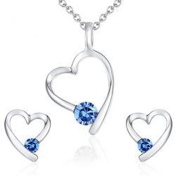 Rafaela Donata Damen-Schmuckset Halskette + Ohrringe Messing rhodiniert Zirkonia Rundschliff blau - 60755006
