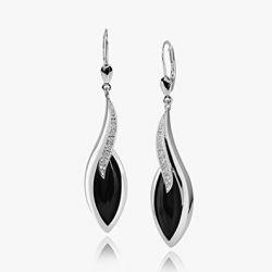 MATERIA Schmuck 925 Silber Ohrhänger schwarz Onyx mit Zirkonia - Onyx Ohrringe schwarz Tropfen Brisur Verschluss rhodiniert inkl. Holz Box #SO-164