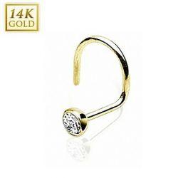 Taffstyle® Echt 585 Gold 14 Karat Nasenstecker Nasenpiercing mit Zirkonia Clear