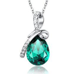 Ewige Liebe Träne Swarovski-Kristall-Elementen Anhänger Halskette für Damen - Grün Groß Kristall 53cm Kette 2101609