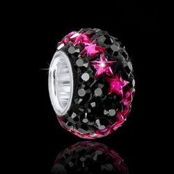 MATERIA 925 Silber Kristall Beads schwarz Element - European Strass Beads Element mit Sternen pink #1606