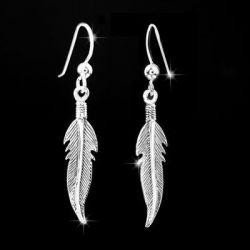 MATERIA 925 Silber Ohrhänger Federn - Feder Ohrringe silber antik in Juwelierqualität 7 x 39mm inkl. Schmuckbox #SO-122