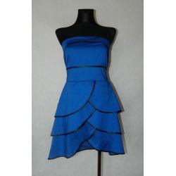 kobaltowa sukienka z falbankami (S/M/L)