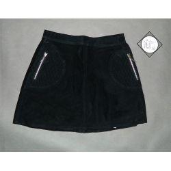skórzana spódnica  GENUINE LEATHER, zipy  (M)
