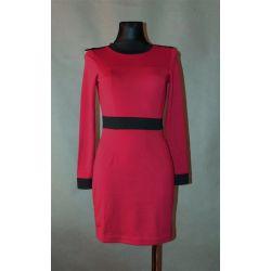 bordowa sukienka, pasek, pagony (XS)