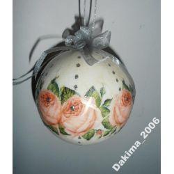 bombka decoupage choinkowa srebrne róże