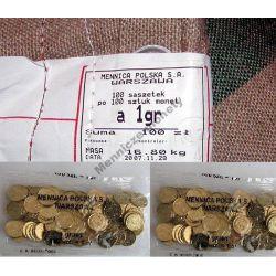 woreczek 100 x 1 gr groszy 2007 z parciaka