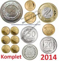 1,2,5,10,20,50 gr. 1,2 zł 2014 r. + 1,2,5 gr Royal