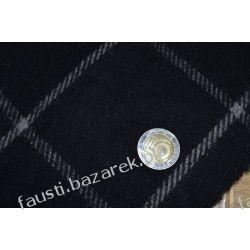 Wełna płaszczowa czarna w kratę