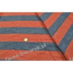 Wełna w pasy 8cm niebiesko-czerwona Pozostałe