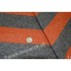 Wełna w Pasy 6,5 cm Pomarańczowo-Szara Pozostałe